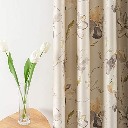 Leeva Thermal Insulated Heavy Curtains for Bedroom, Elegant Floral Room Darkening Blackout Curtain and Drapes for Patio Sliding Door, 52x84, 2 Panels, Grey Flowers