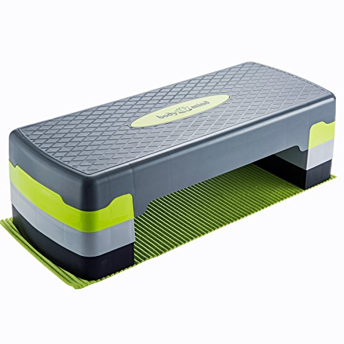 Body & Mind Aerobic Steppbrett Elite 3-Stufen Stepper Step-Bench mit gratis Anti-Rutsch-Matte