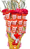 Holy Krishna'sBamboo Basket Bouquet of Nestle Kitkat Chocolate Pack of 6 with Soft Toy & Message...