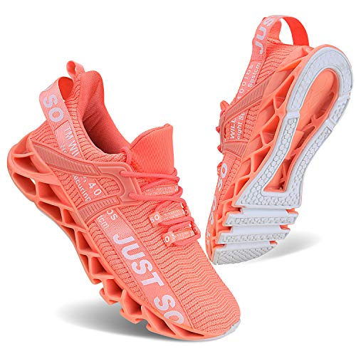 Vivay Damen Laufschuhe Walking Athletic fAr Frauen Casual Slip Fashion Sports Outdoor-Schuhe, Orange, 38 EU