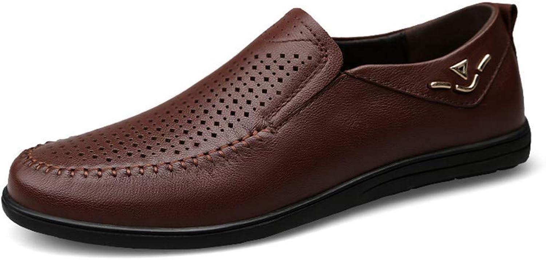 2018 Men's Fashion Oxfords shoes, Breathable Flat Heel Lace Up Soft Cowhide Solid color shoes (color  Black Hollow Vamp, Size  45 EU) (color   Brown Hollow Vamp, Size   45 EU)