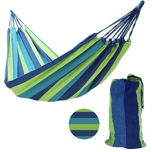 KleinerVier Hängematte Outdoor Baumwolle 2 Personen 190 * 100 cm, Belastbarkeit bis 200kg mit Tragetasche für Draußen Drinnen Garten Blau