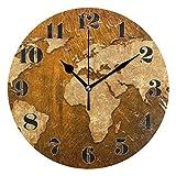 Night Ing Reloj de Pared Redondo Mapa del Mundo Reloj de Arte Decorativo marrón Vintage para Sala de Estar Dormitorio Oficina
