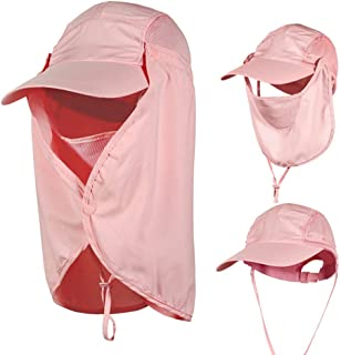 Outdoor Sun Hat Fishing Cap for Man Woman,360°UV Protection Removable,Free Sunscreen Sleeve.