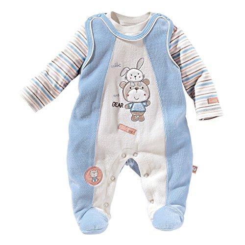 Bornino Strampler-Set Nicki Bär und Hase (2-TLG.) - Babystrampler & Langarmshirt - mit Tiermotiven & Stickereien - hellblau/beige
