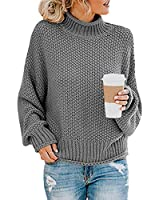 Glanzition Womens Cute Pullover Sweaters Turtle Neck Casual Tunic Tops Leggings Gray S