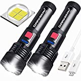 USB Rechargeable LED Flashlight [2 Pack] DARKBEAM T002 Super Bright XHP50 3000 Lumen Flash Light Lights Tactical Handheld Zoomable for Hiking, Biking, Outdoor Activity Patrol, Home, Emergency
