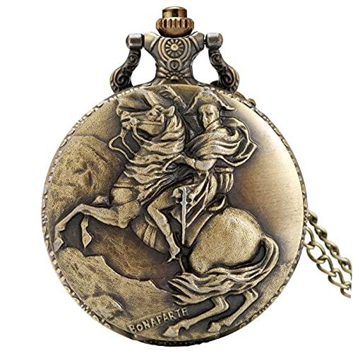 LWCOTTAGE Reloj De Bolsillo De Cuarzo - Bronce Napoleón Bonaparte Caballo Caballero Diseño Antiguo Reloj De Bolsillo De Cuarzo Vintage Hero Collar Colgante Reloj De Bolsillo Regalos