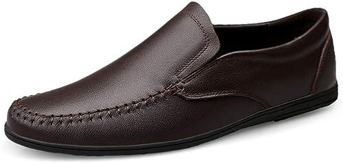 GERUIQI Conduite Confortable Mocassins pour pour Hommes Bout Rond Oxfords Décontracté Plat Penny Chaussures en Cuir Supérieur Slip sur Point De Marche Bateau Chaussures Chaussures Léger  pas cher en ligne
