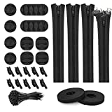 124pcs Cord Management Organizer Kit 4 Cable Sleeve with Zipper,10 Self Adhesive Cable Clip Holder,10pcs and 2 Roll Self Adhesive tie and 100 Fastening Cable Ties for TV Office Home etc (Black)