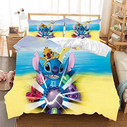 KHDFID Lilo & Stitch Bettbezug, Mikrofaser, 3D-Digitaldruck, für Mädchen und Jungen, Einzelbett (135 x 200 cm)