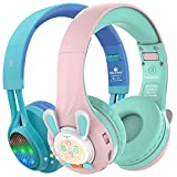 Riwbox WT-7S&RB-7S Kids Headphones Wireless, Bundle 2 Packs Foldable Stereo Bluetooth Headset with Mic and Volume Limited for PC/Laptop/Tablet/iPad (Blue&Pink)