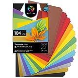 OfficeTree 104 Papel Colores A4 130g/m² - Folios de Colores A4 para Hacer Manualidades Diseñar - 10 Tonos de Color y Lazos de Oro y Plata