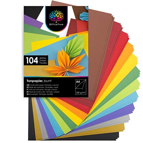 OfficeTree Tonpapier A4 Bunt 130g - 12 Farben - 104 Blätter - Papier zum Basteln - Buntes Papier A4