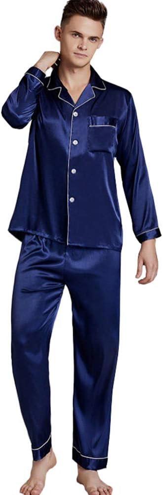 Men's Pyjamas Set Sleepwear pjs Imitation Silk Home Wear Large Size