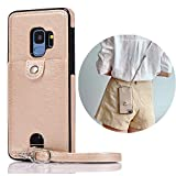 Jaorty PU Leather Wallet Case for Samsung Galaxy S9 Necklace Lanyard Case Cover with Card Holder Adjustable Detachable Anti-Lost Neck Strap Case for Samsung Galaxy S9,Gold