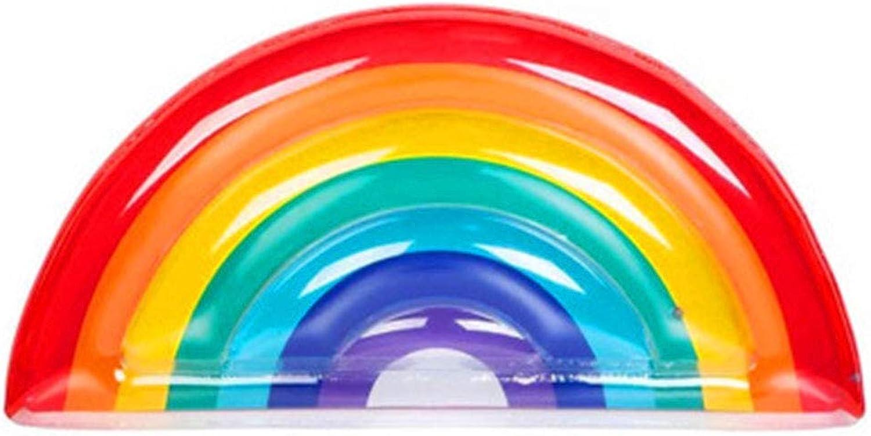 Aufblasbare Regenbogen Schwimmende Reihe, Riesige Halbrunde PVC Outdoor Pool Float Spielzeug Strand Liegestuhl Geeignet für Erwachsene Kinder (Farbe)