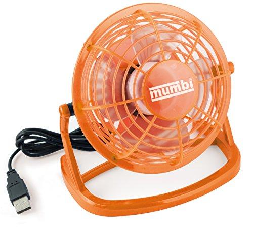 mumbi USB Ventilator, Mini Fan klein für den Schreibtisch mit Ein/Aus-Schalter, orange