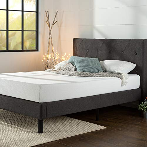 Zinus Shalini Upholstered Platform Bed / Mattress Foundation / Wood Slat Support / No Box Spring Needed / Easy Assembly, Queen