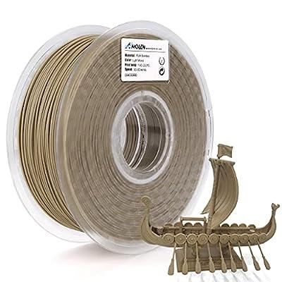 AMOLEN 3D Printer Filament, Wood Color PLA Filament 1.75mm +/-0.03mm, 1KG, 3D Printing Materials for 3D Printer and 3D Pen