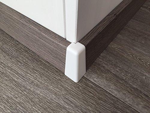 Außenecke für Sockelleisten mit Profil HR66   weiß 2 Stück   Eckstück passend zu MDF-Leisten in verschiedenen Dekoren   Fußbodenleisten-ecke außen hell, Verbindungs-stück