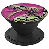 Skeleton Skull Pin Up Girl-Horror Movie Sexy Blonde Lingerie PopSockets Grip and Stand for...