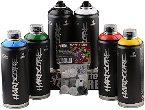 bombolette spray Set MTN Hardcore maincolor colori primari Glossy 6x400ml + Testine di ricambio a spruzzo
