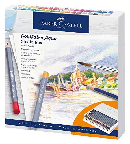 Faber-Castell 114616 Aquarellstifte Goldfaber Aqua, 38er Atelierbox inklusive Zubehör