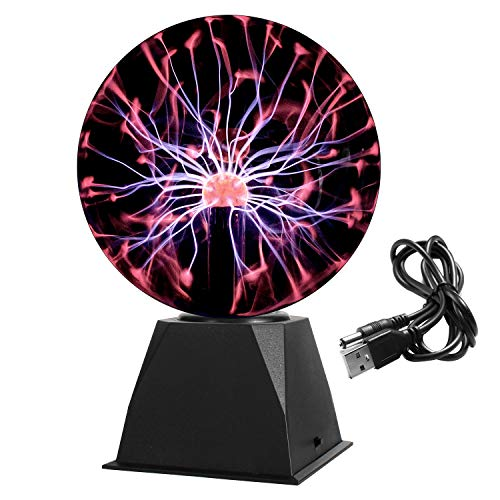 Gresus 8 Inch Magic Plasma Ball Lamp - Touch & Sound Sensitive Interactive USB Powered Plasma Lamp Nebula Sphere Globe, Science Educational Gift for Decorations/Parties/Bedroom