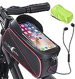Bolsa de Bicicleta, Bolsa Impermeable Bicicleta Cuadro, Bolsa Manillar Bicicleta Montaña con Visera, Bolsa Táctil de Tubo Superior Delantero para Teléfono Inteligente por Debajo de 6,8 Pulgadas