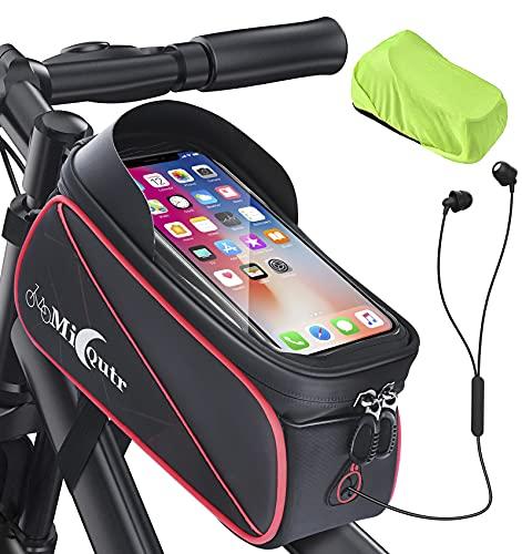 MicQutr Borsa Telaio Bici, Impermeabile Bici Borse Bicicletta Telaio Anteriore Borsa Top Tubo con TPU Touch Screen Visiera Parasole Porta Telefono MTB Borsa Grande capacità per Telefoni sotto 6,7'