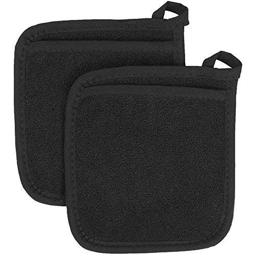 NUOMI A Pair Pot Holders Heat Resistance Cotton Hotpot Pads with Pocket Terrycloth Lining Mitts Functional Kitchen Tool for Cooking and Baking, BBQ, Hot Dish Serving, Square, Black