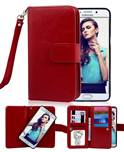Crosspace Compatible with Galaxy S6 Edge+ Plus [5.7 inch 2015 Release] Case,Flip Wallet Case Premium PU Leather 2-in-1 Protective Shell with Credit Card Holder/Slots and Wrist Lanyard (Red)