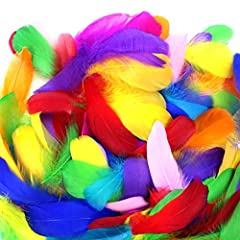 Great Value bulk: including 300pcs colorful feathers. Superior Material: Natural feathers, strictly screened and processed through high temperature, safe, non-toxic and not fade. Fair Size: Approximately 8-12cm (3-5 inches). Because all feathers are ...