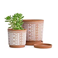 Set of 2 Terracotta Pots, 4 Inch & 6 Inch, Planter Pots for Plants with Drainage Holes and Saucers, Terracotta/White, Small, 31-958-A-1