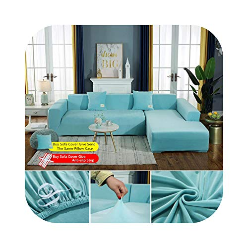 Mihqin Plush Fabirc Elastic Sofa Cover Solid L Shape Sofa Covers Velvet for Living Room Stretch Slipcover Couch Cover with Pillowcase-5-45X45cm 2 Pillowcase