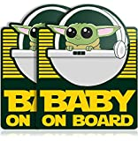 Super Cute Baby Yoda on Board Vinyl Decal Stickers for Car, Truck, Vehicle, Window or Bumper (2 Pack)