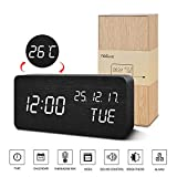 FIBISONIC LED Digitaler Wecker, Holz Wecker Uhr Modern Tischuhr, Reisewecker Alarm Clock mit...