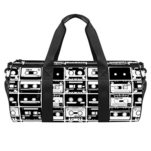 LAZEN Hombro Handy Sports Gym Bags Travel Duffle Totes Bag para hombres mujeres Old Retro Autio Tapes Pattern