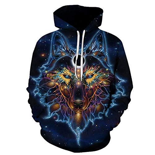 YCHY 3D Star Wolf Animal Hoodies Pullover Manches Longues Sweatshirts avec Grande Poche pour Hommes Femmes,2,4XL