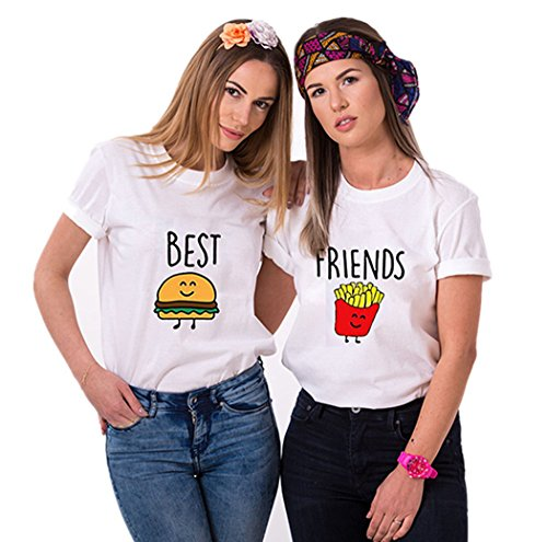 Best Friends Damen T-Shirt für 2 BFF Burger und Pommes (Weiß, Best-XS+Friends-XS)