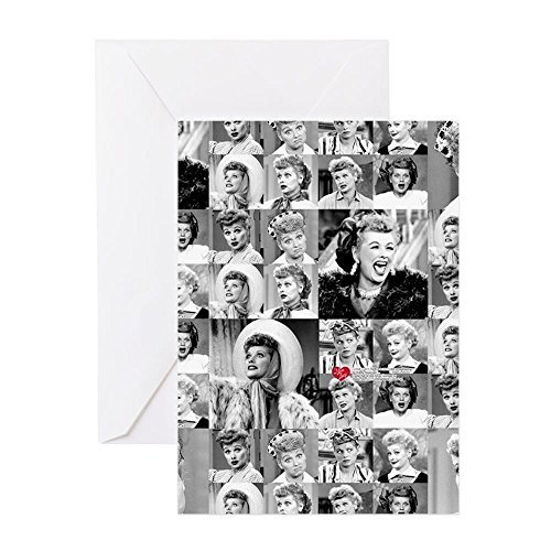 CafePress I Love Lucy Face Collage Greeting Card, Note Card, Birthday Card, Blank Inside Matte