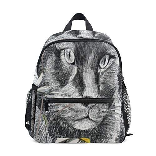 Kleiner Tagesrucksack Zeichnung Kunst Bild Katze Kleiner Rucksack für Jungen Perfekte Größe Mit Vorderer Brustschnalle Für Schulreisen