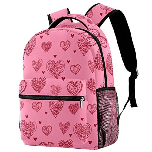 Bolsas Escolares para Primaria Guarderia Linda Mochilas Escolares Corazón de Amor Rosa para Niñas y Niños Mochila Mujer Casual Moda 29.4x20x40cm