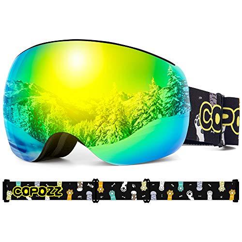 COPOZZ Kinder Skibrille, S3 Magnetische OTG Snowboard Schneebrille mit Doppel-Objektiv Anti Fog Austauschbar Linse UV400 Schutz Helm Kompatibel Sonnenbrille für Junior Jungen Mädchen Alter 4-12 Jahre