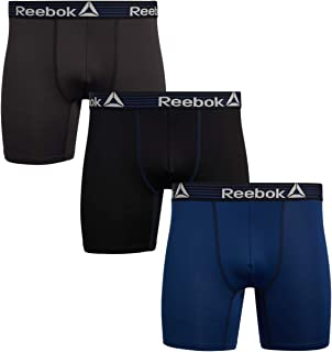Reebok Mens Performance Quick Dry Moisture Wicking Boxer Briefs (3 Pack)