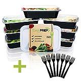 EasyPREP Meal Prep Container Boxen Extra Stabil mit Deckel + GRATIS 7 Gabeln | 1 Fach Essen Vorbereiten Behälter 1L| 7er Pack Auslaufsicher, Verstärkt, für Lebensmittel Zertifiziert, BPA...
