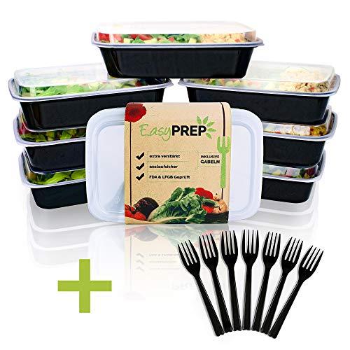 EasyPREP Meal Prep Container Boxen Extra Stabil mit Deckel + GRATIS 7 Gabeln | 1 Fach Essen Vorbereiten Behälter 1L| 7er Pack Auslaufsicher, Verstärkt, für Lebensmittel Zertifiziert, BPA Frei