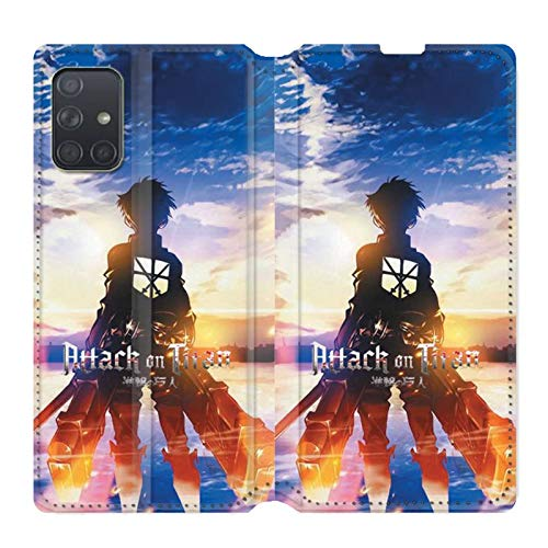 Cokitec Leather Wallet Case for Samsung Galaxy A71 Manga Attack on Titans Sun