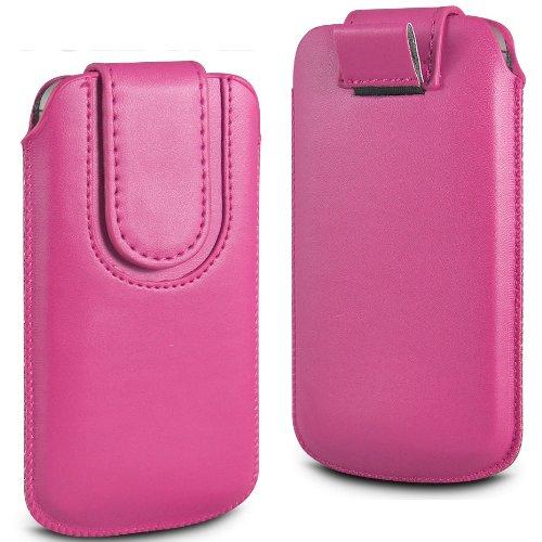 N4U Online rosa Premium-PU-Leder Pull Tab Flip Tasche für Huawei Ascend P1 mit magnetischem Verschluss Strap